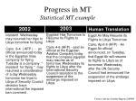 progress in mt statistical mt example