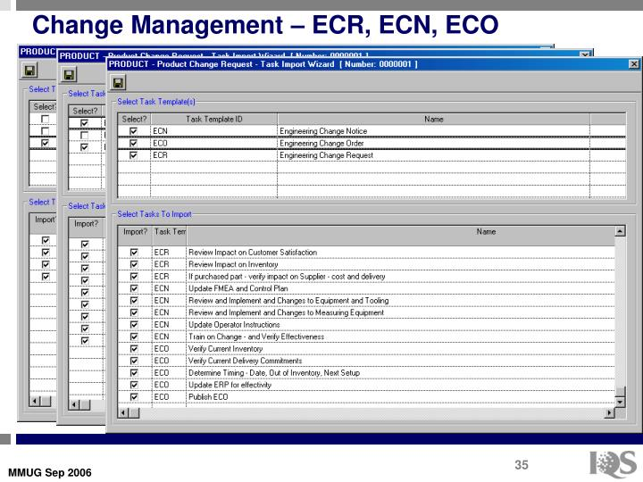 Change Management – ECR, ECN, ECO