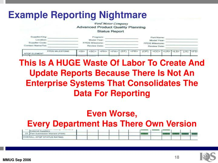 Example Reporting Nightmare