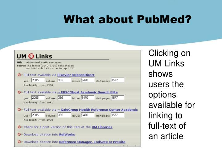 What about PubMed?