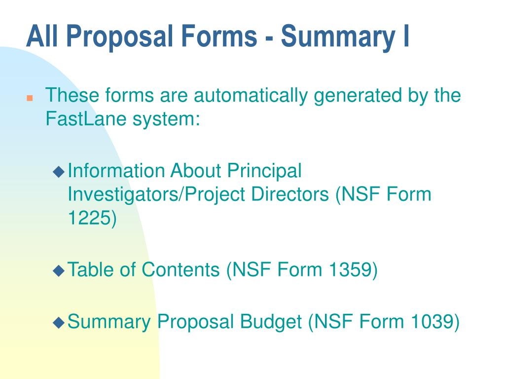 All Proposal Forms - Summary I