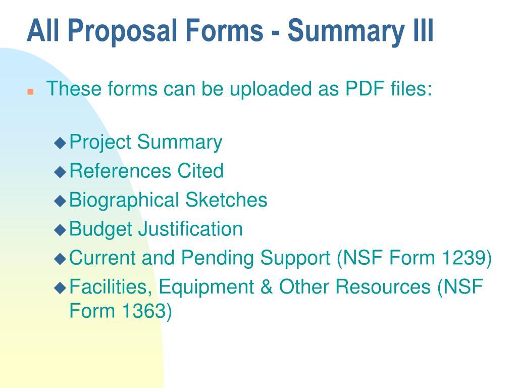 All Proposal Forms - Summary III