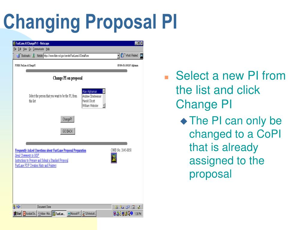 Changing Proposal PI