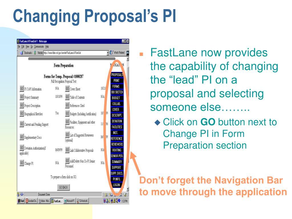 Changing Proposal's PI