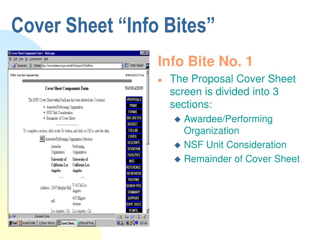 """Cover Sheet """"Info Bites"""""""