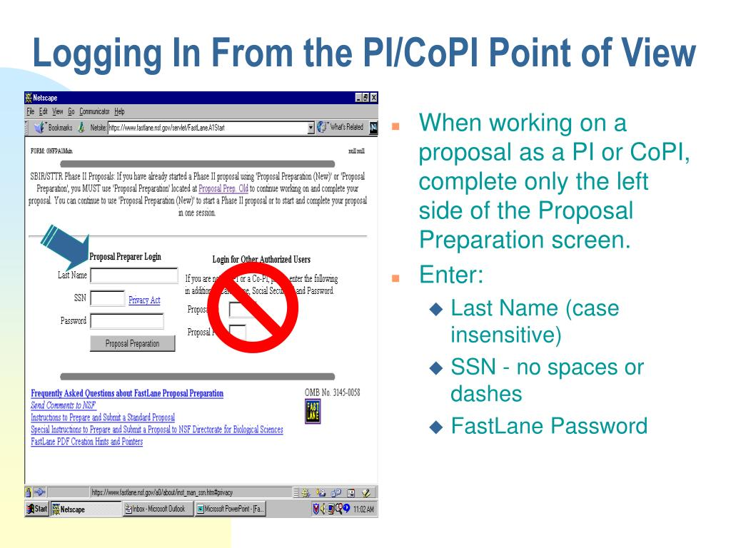 Logging In From the PI/CoPI Point of View
