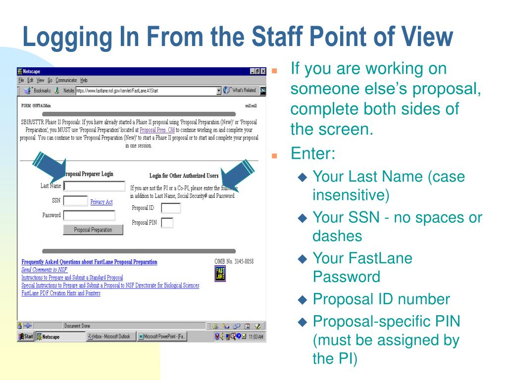 Logging In From the Staff Point of View