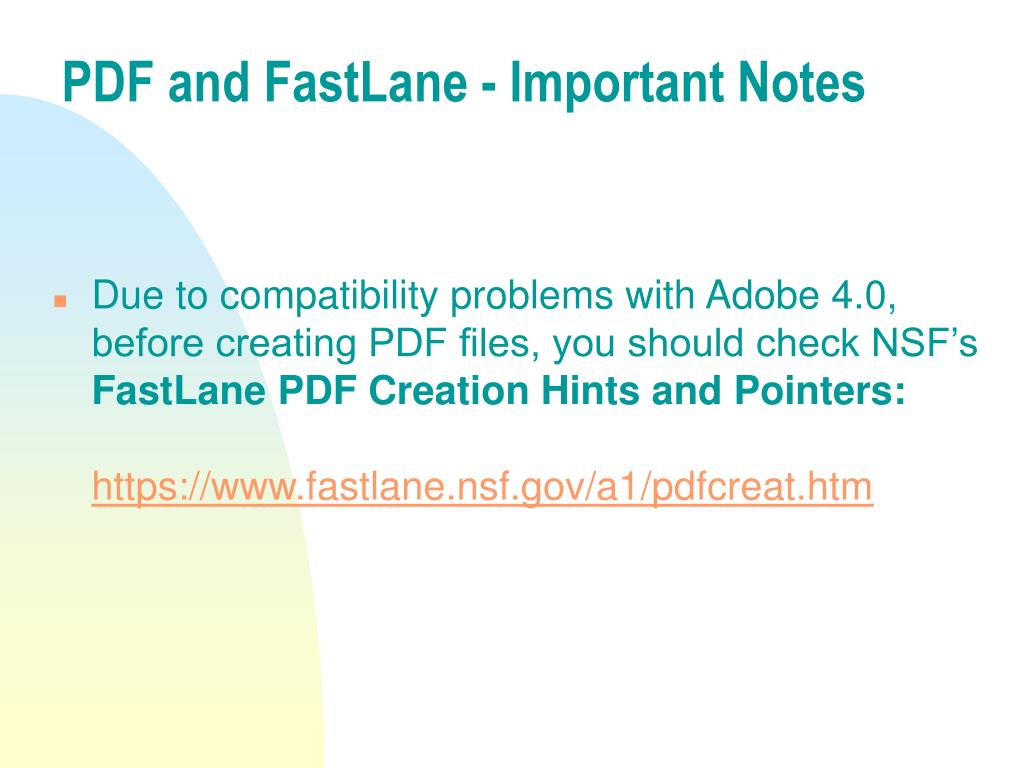 PDF and FastLane - Important Notes