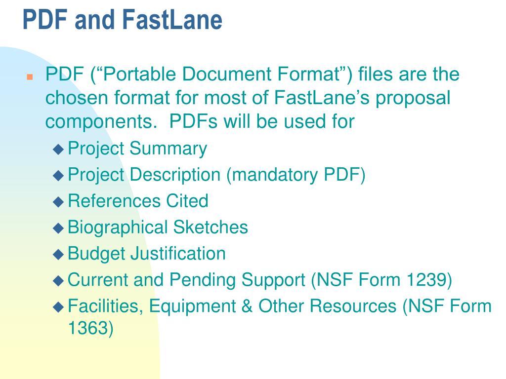 PDF and FastLane