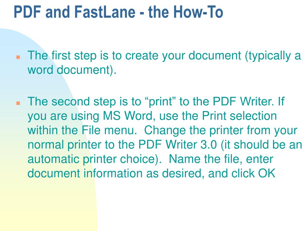 PDF and FastLane - the How-To