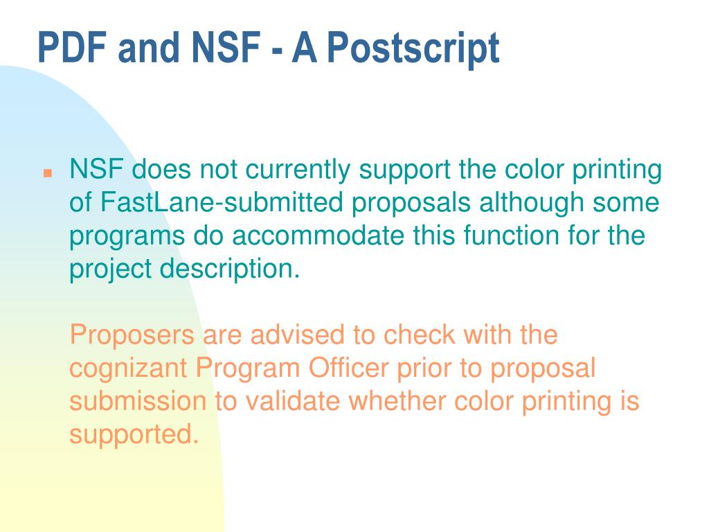 PDF and NSF - A Postscript