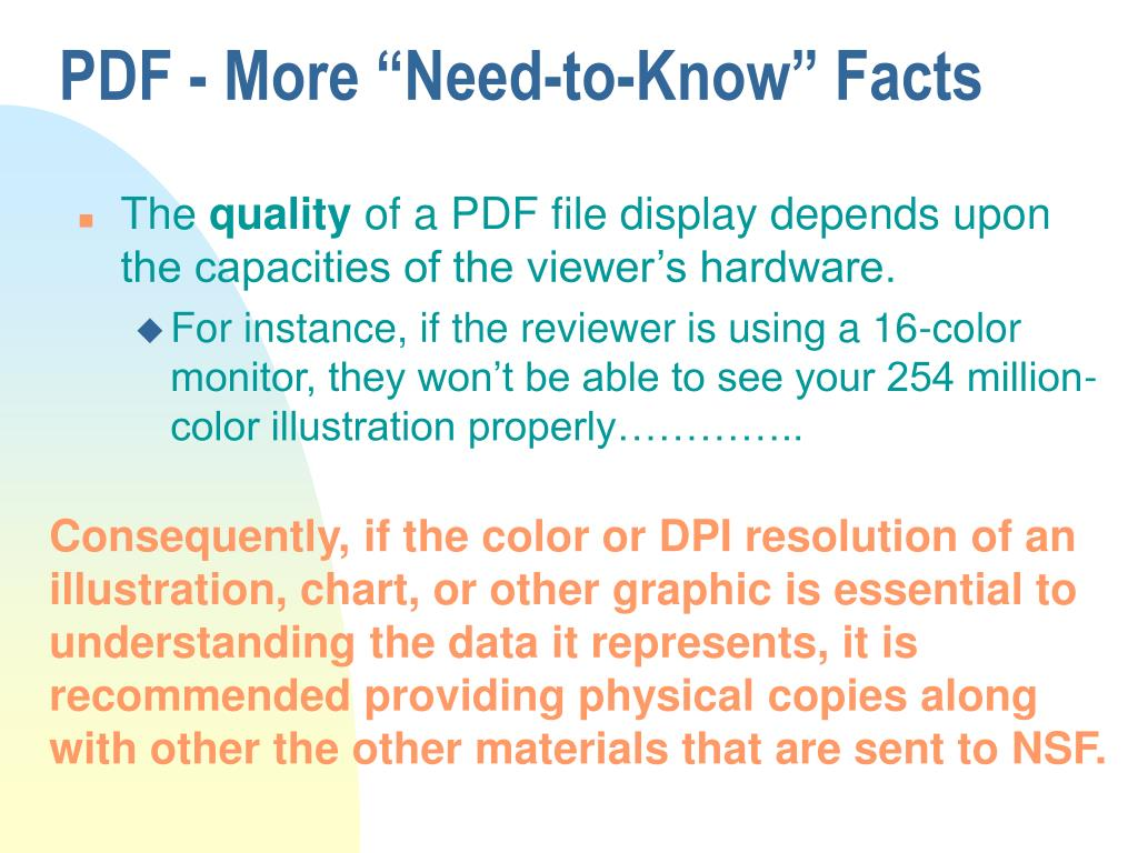 """PDF - More """"Need-to-Know"""" Facts"""