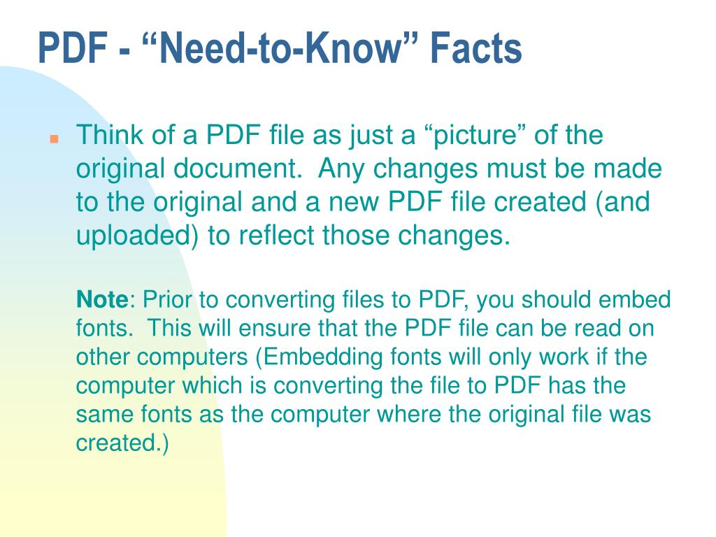 """PDF - """"Need-to-Know"""" Facts"""