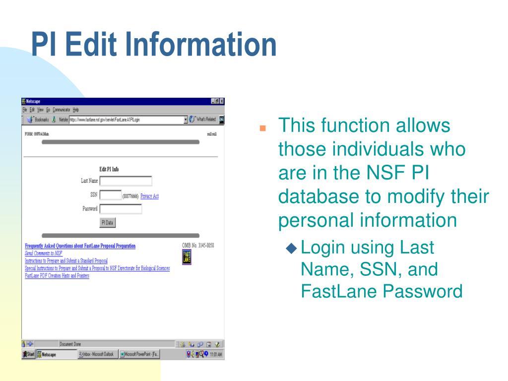 PI Edit Information