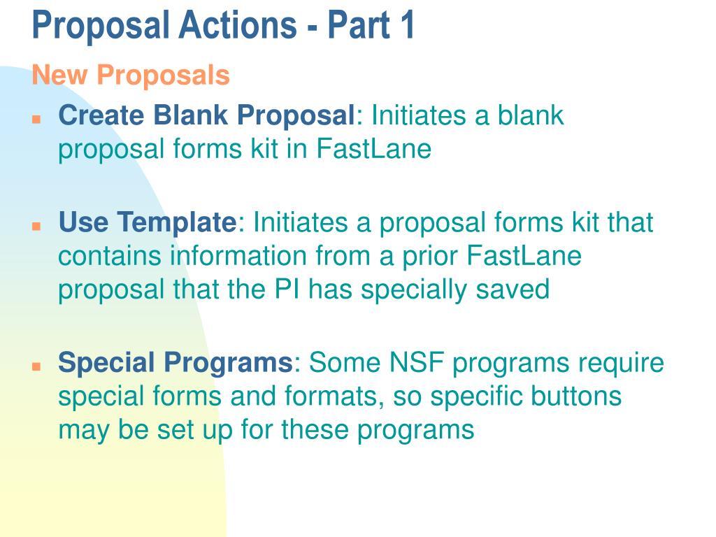 Proposal Actions - Part 1