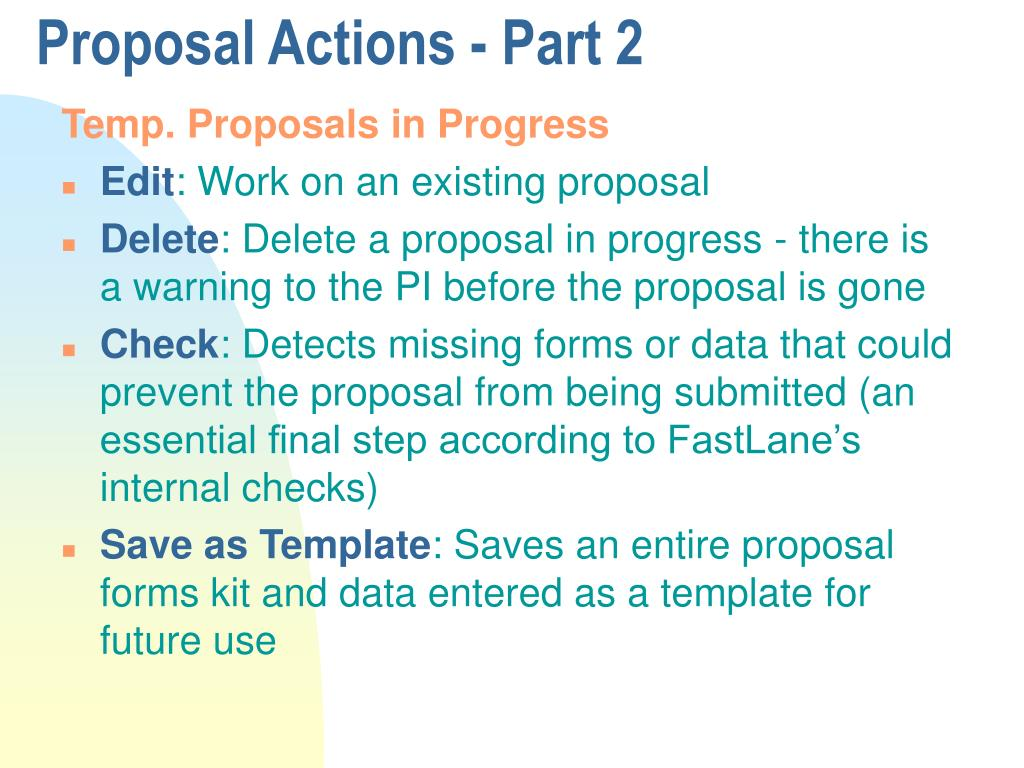 Proposal Actions - Part 2
