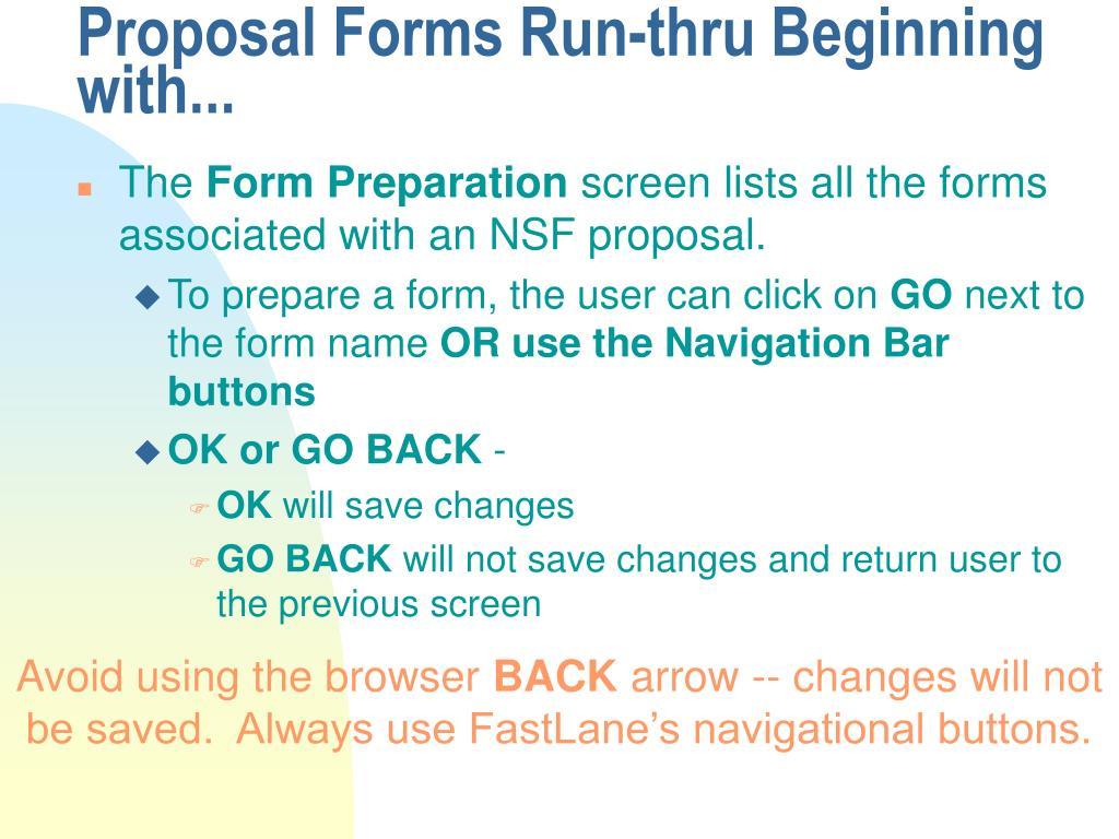 Proposal Forms Run-thru Beginning with...