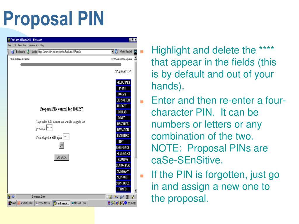 Proposal PIN