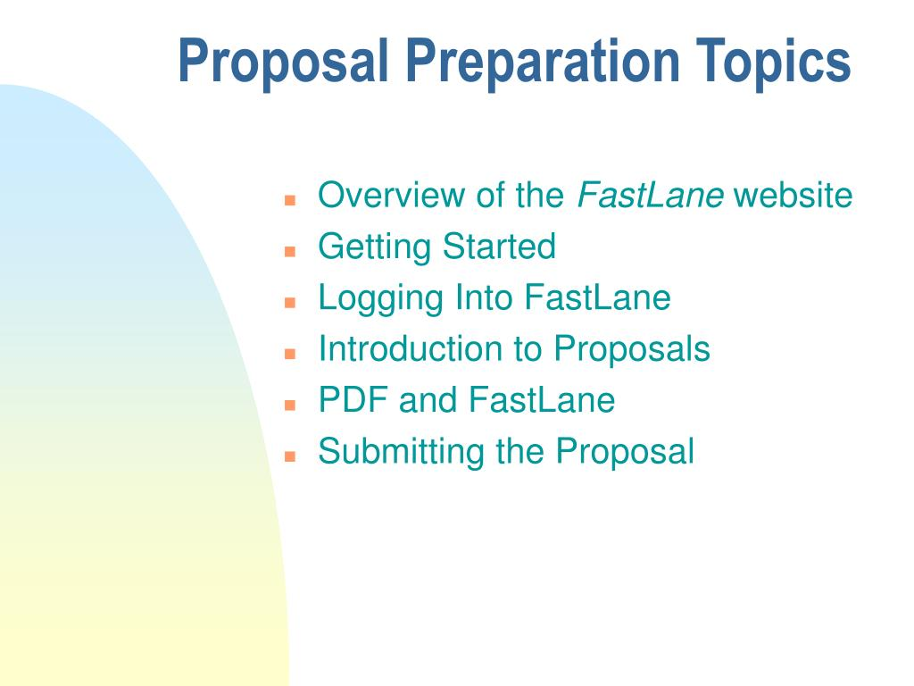 Proposal Preparation Topics