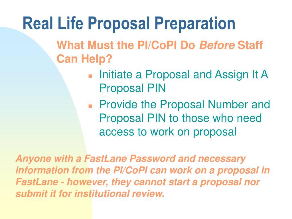 Real Life Proposal Preparation