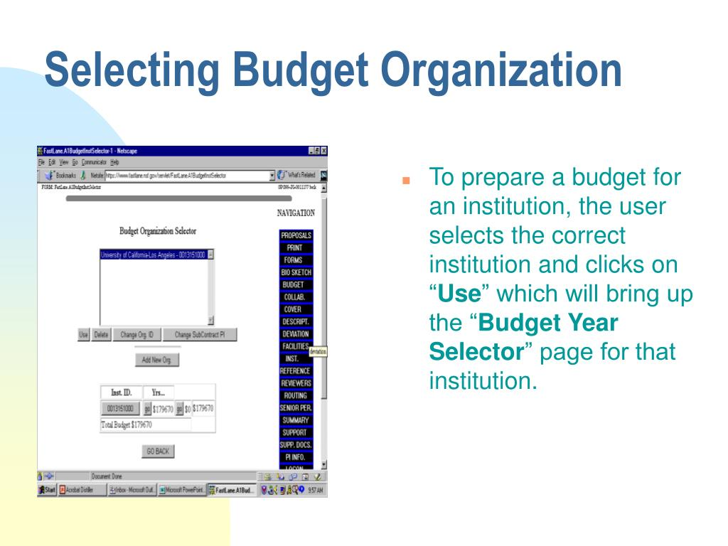 Selecting Budget Organization