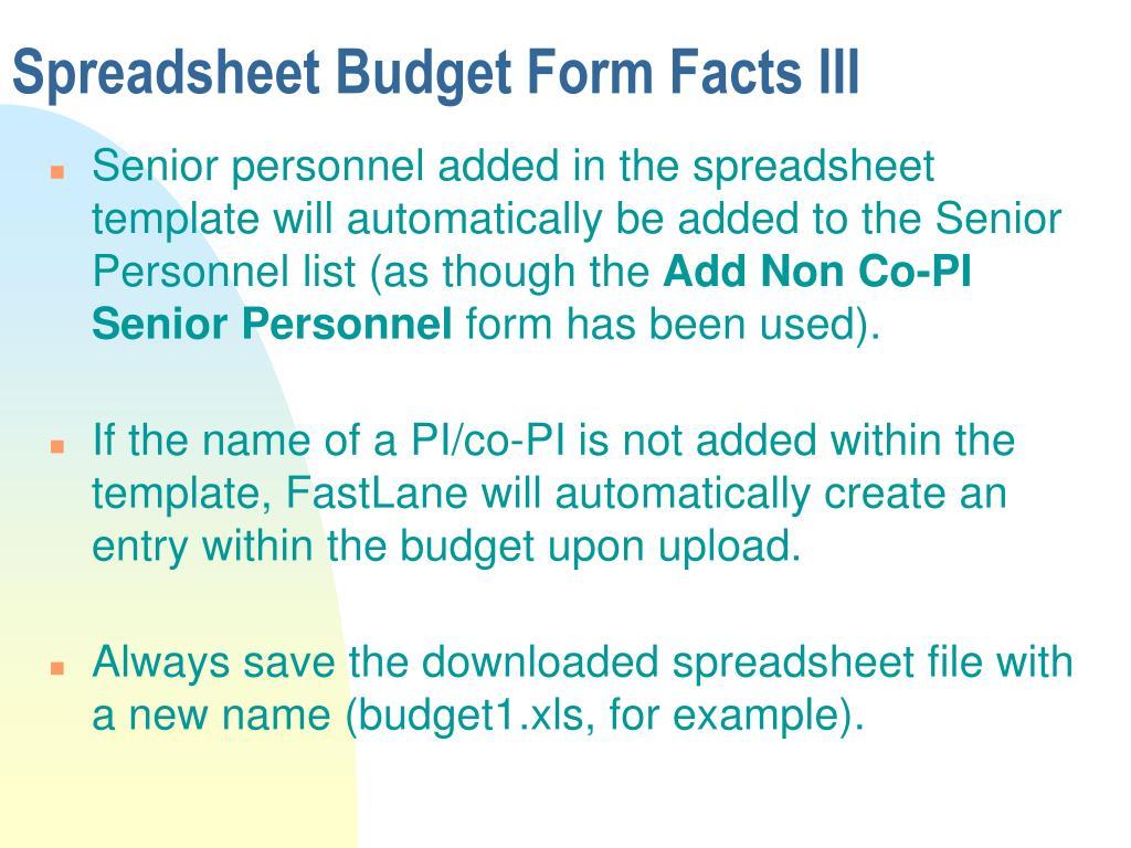 Spreadsheet Budget Form Facts III