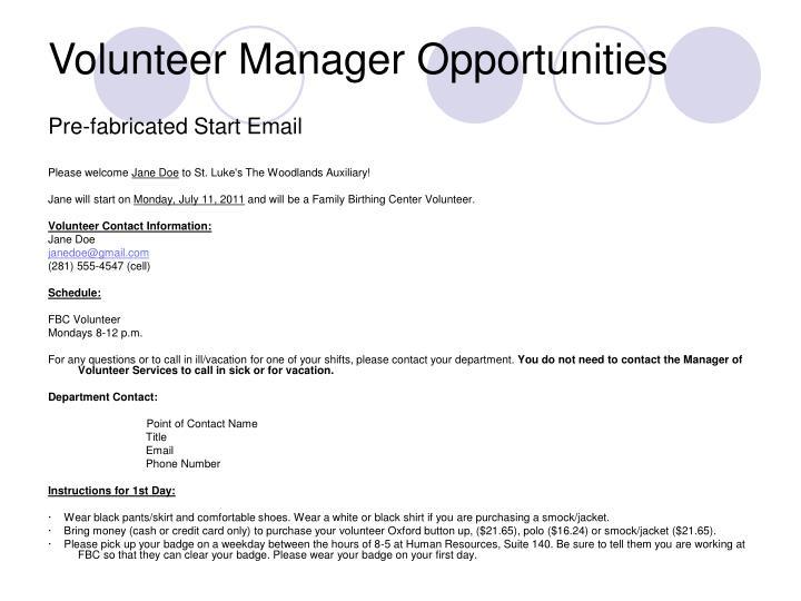 Volunteer Manager Opportunities