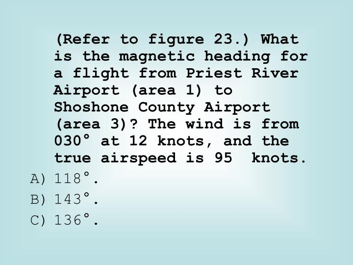 (Refer to figure 23.) What is the magnetic heading for a flight from Priest River Airport (area 1) to  Shoshone County Airport (area 3)? The wind is from 030° at 12 knots, and the true airspeed is 95  knots.