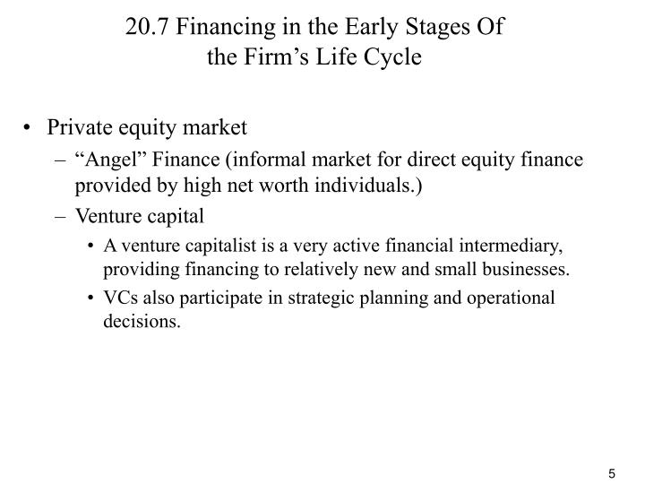 20.7 Financing in the Early Stages Of