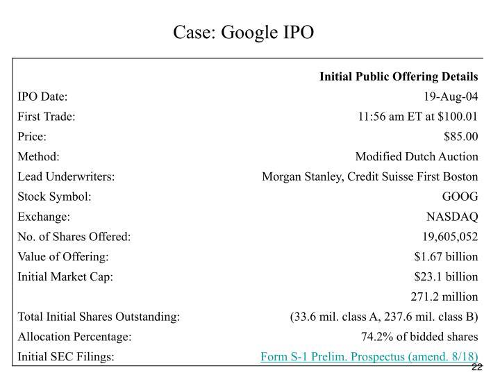 Case: Google IPO