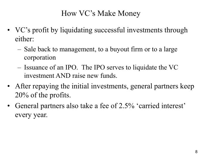 How VC's Make Money
