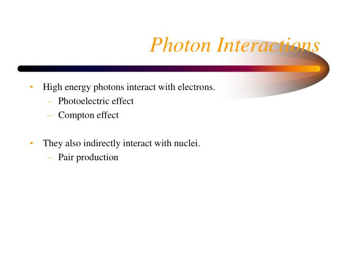 High energy photons interact with electrons.