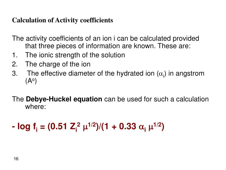 Calculation of Activity coefficients