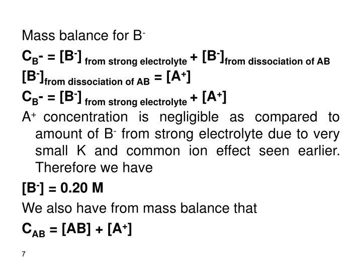 Mass balance for B