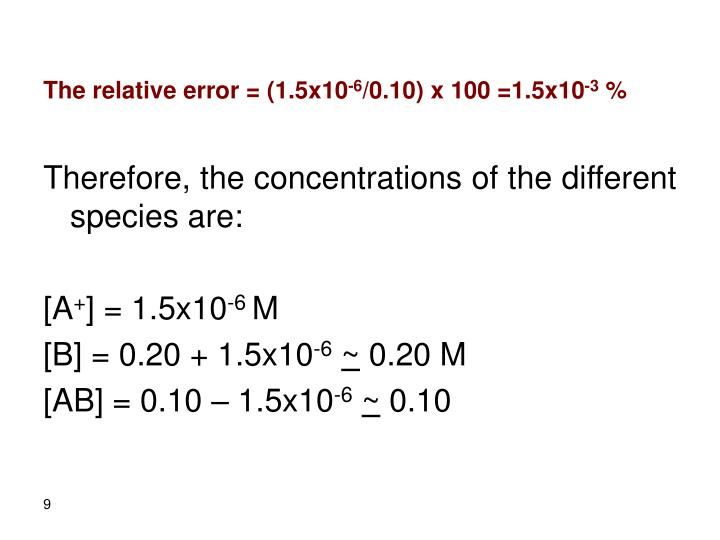 The relative error = (1.5x10