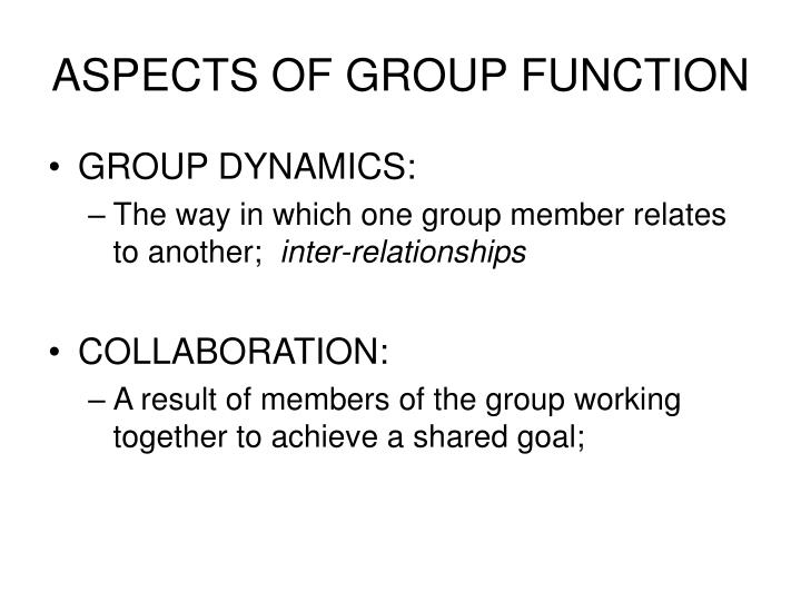 ASPECTS OF GROUP FUNCTION