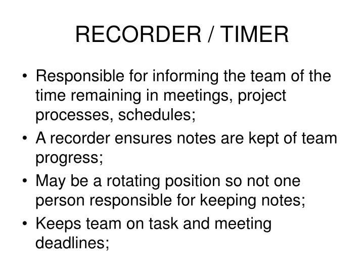 RECORDER / TIMER