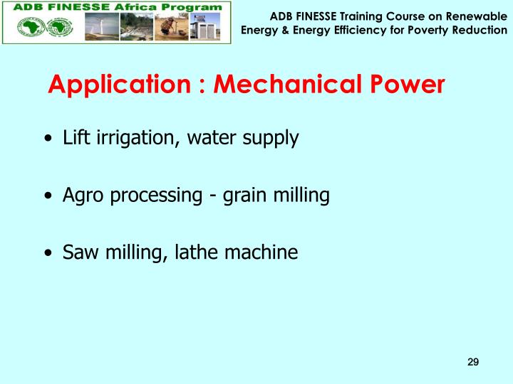 Application : Mechanical Power
