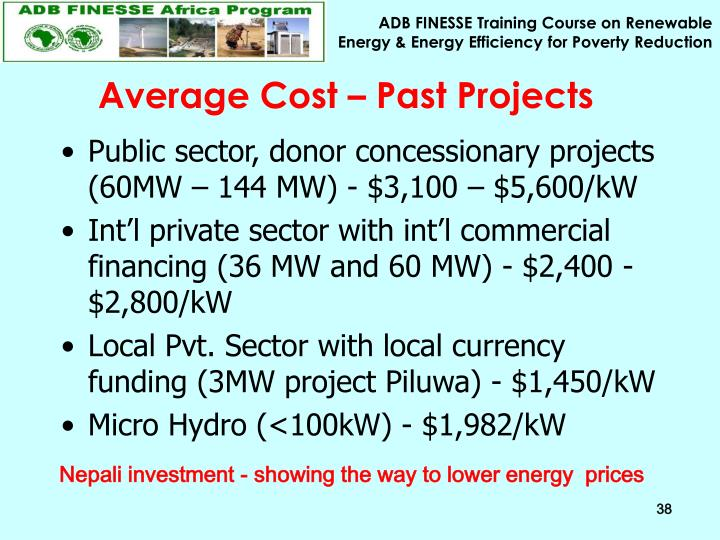 Average Cost – Past Projects
