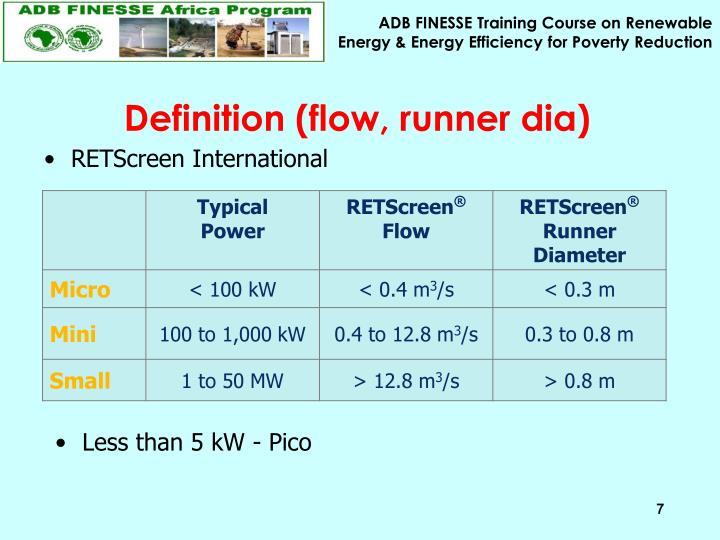 Definition (flow, runner dia)