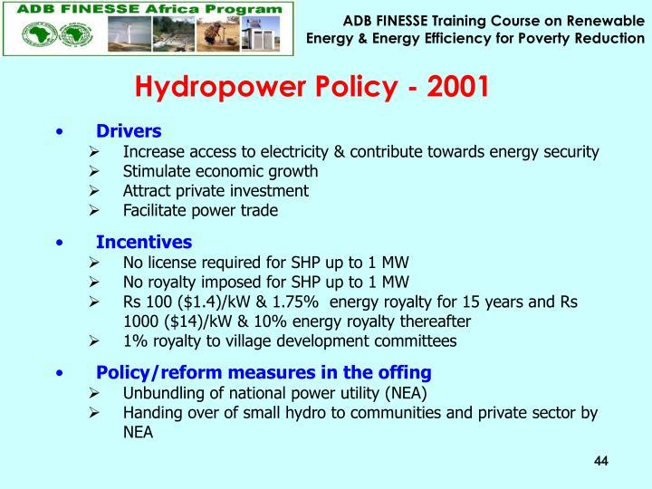 Hydropower Policy - 2001