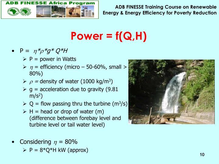 Power = f(Q,H)