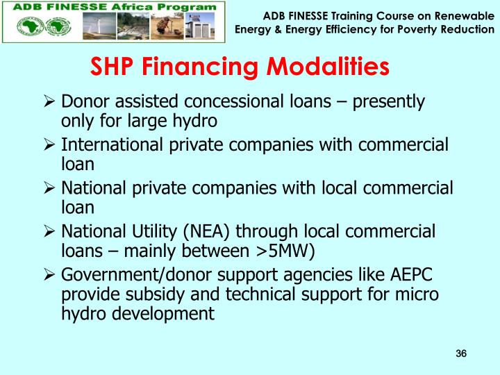 SHP Financing Modalities
