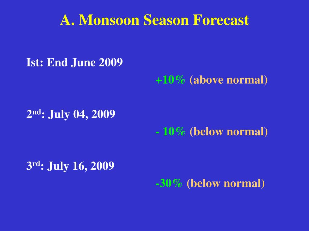 A. Monsoon Season Forecast