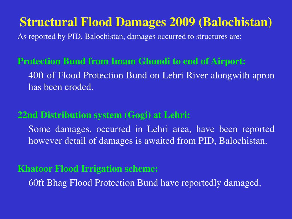 Structural Flood Damages 2009 (Balochistan)