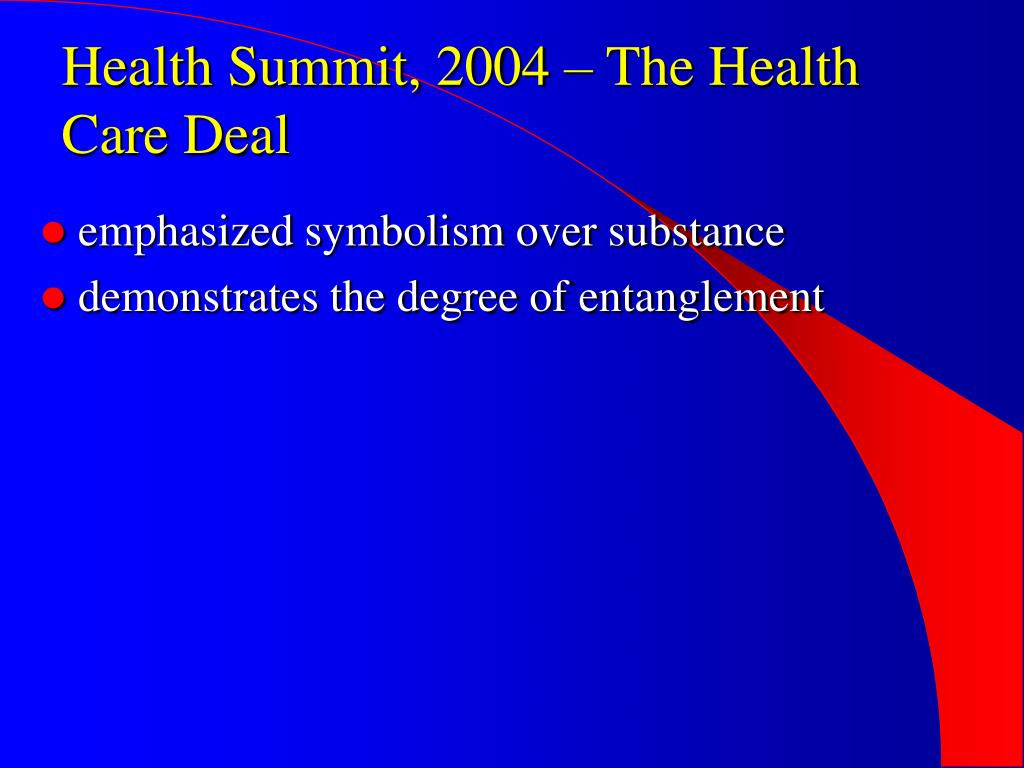 Health Summit, 2004 – The Health Care Deal