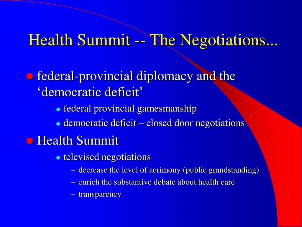 Health Summit -- The Negotiations...