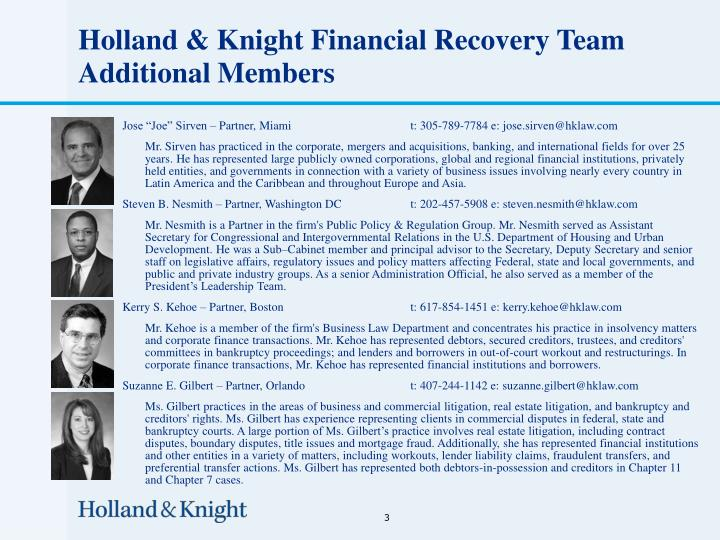 Holland knight financial recovery team additional members