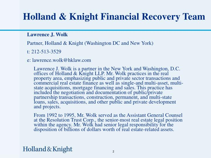 Holland knight financial recovery team