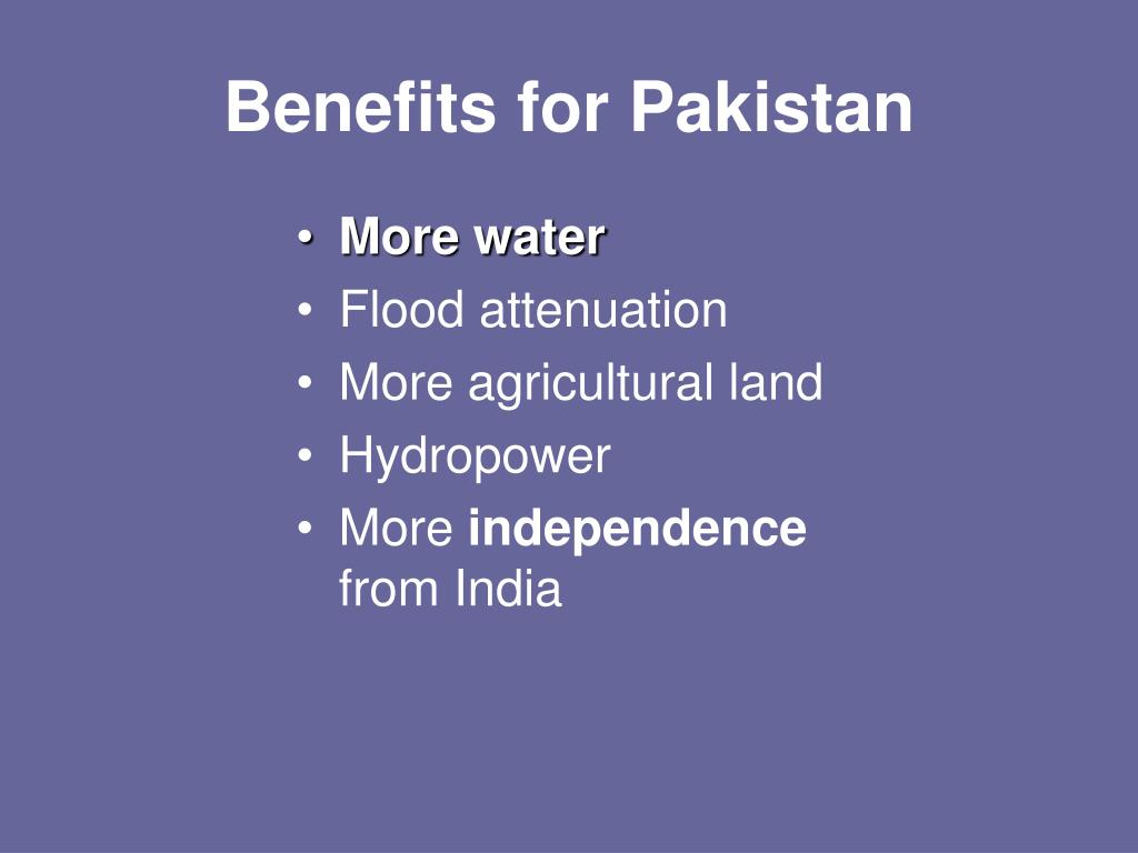 Benefits for Pakistan